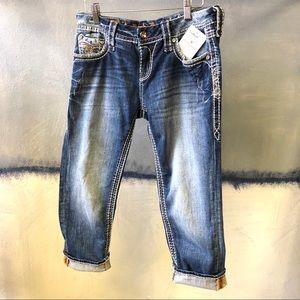Rock Revival Crop Jeans 27 Berry Easy Bling Pocket